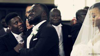 London groom emotional bride wedding
