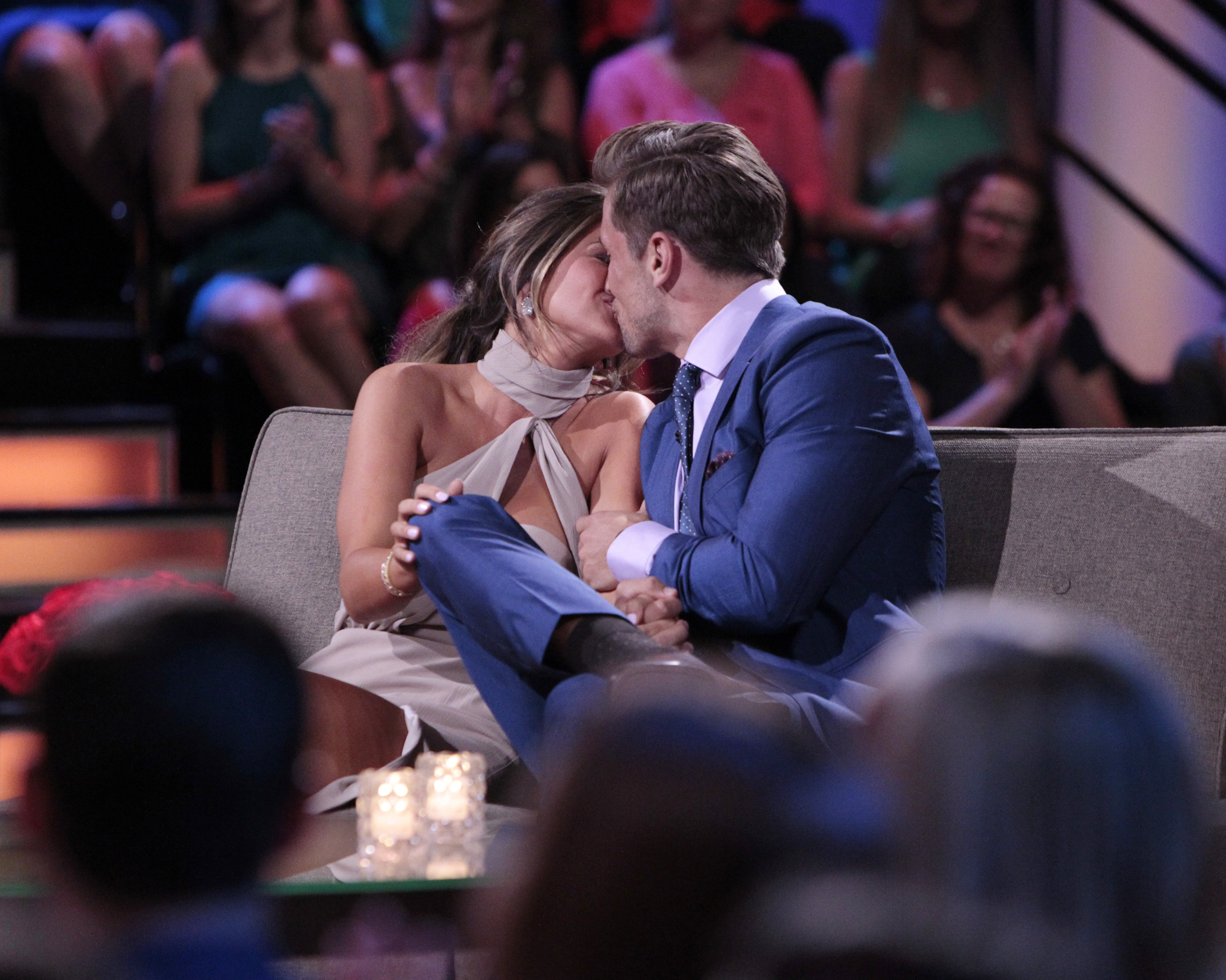 """THE BACHELORETTE - """"After the Final Rose""""- Emotions run high as JoJo sits down with Chris Harrison, live, to talk about her two final bachelors from this season - Jordan and Robby. She takes viewers back to those final days in exotic Phuket, Thailand, when she needed to make her life-changing decision. Both men return to sit with JoJo and discuss the shocking outcome of the show and their relationships. It's the unpredictable ending to JoJo's adventure to find true love on """"The Bachelorette: After the Final Rose,"""" MONDAY, AUGUST 1 (10:00-11:00 p.m. EDT). (ABC/Rick Rowell) JOJO FLETCHER, JORDAN RODGERS"""