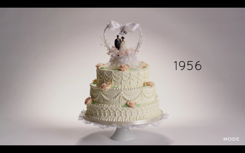100 Years of Wedding Cakes in less than three minutes. (Credit: Mode)