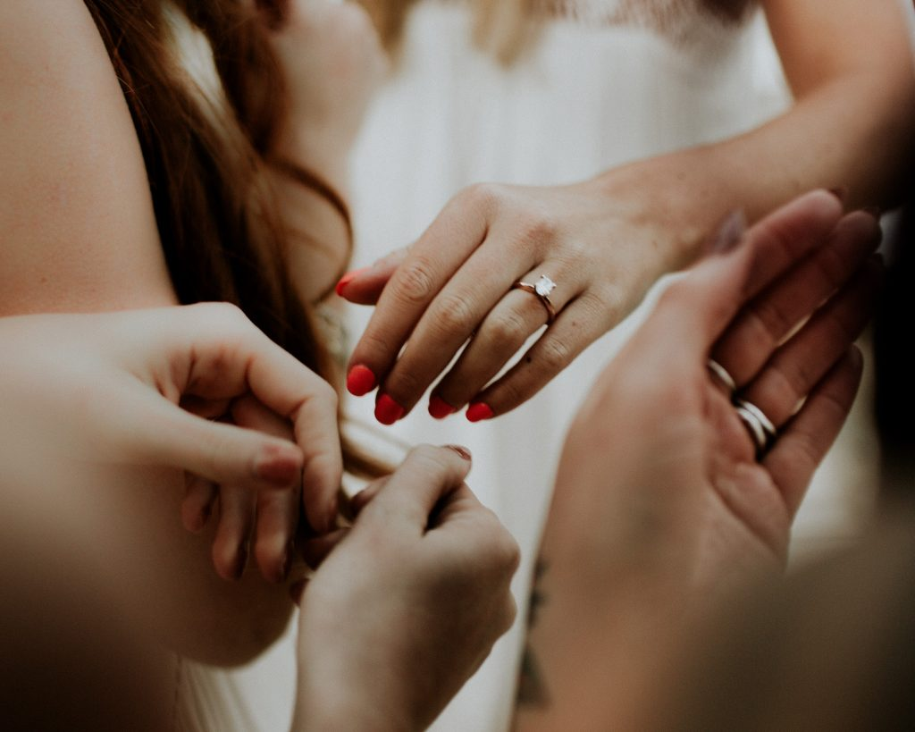 bride bridesmaid bouquet engagement