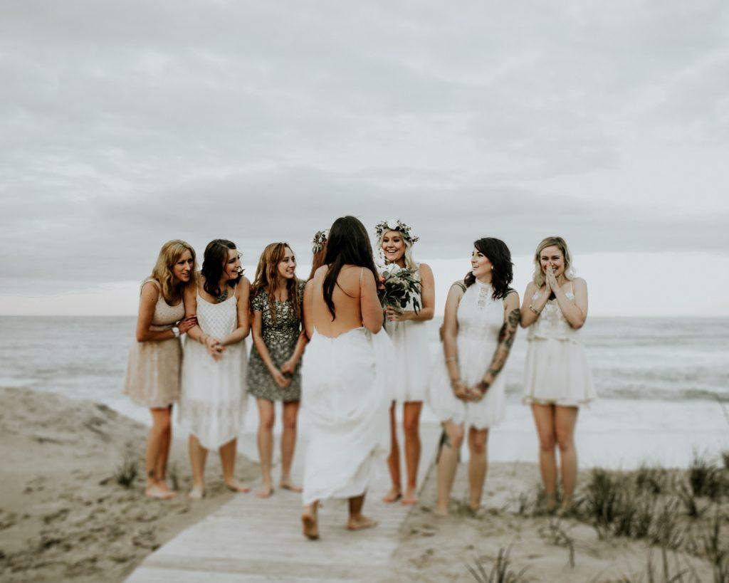 bride bouquet toss engagement
