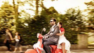 wedding scooter bride