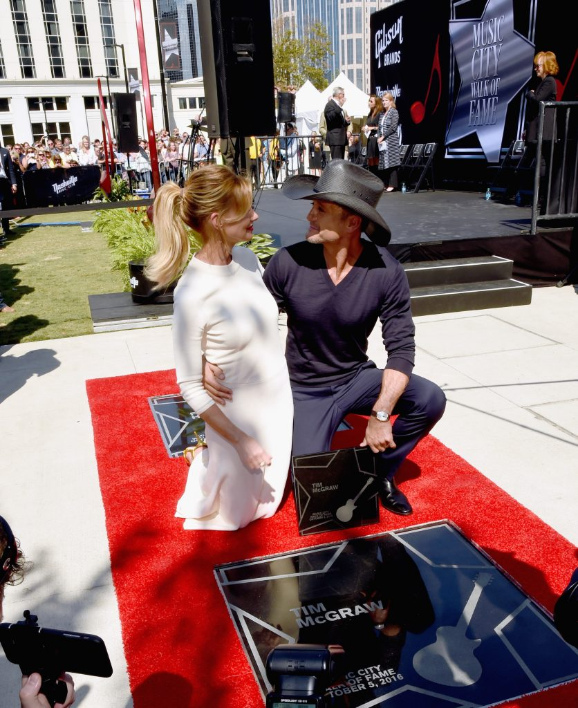 NASHVILLE, TN - OCTOBER 05: Honorees Faith Hill And Tim McGraw during the Nashville Music City Walk Of Fame Induction Ceremony at Nashville Music City Walk of Fame on October 5, 2016 in Nashville, Tennessee. (Photo by Rick Diamond/Getty Images)