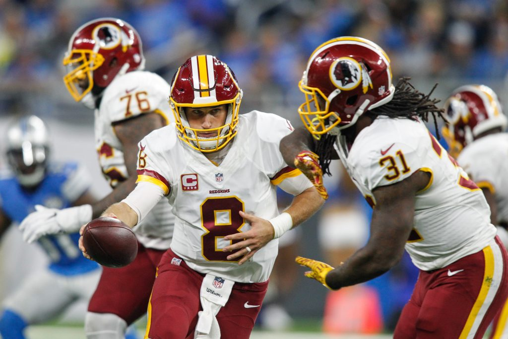 October 23, 2016: Washington Redskins quarterback Kirk Cousins (8) hands the ball off to Washington Redskins running back Matt Jones (31) during game action between the Washington Redskins and the Detroit Lions during a regular season game played at Ford Field in Detroit, Michigan. (Photo by Scott W. Grau/Icon Sportswire via Getty Images)