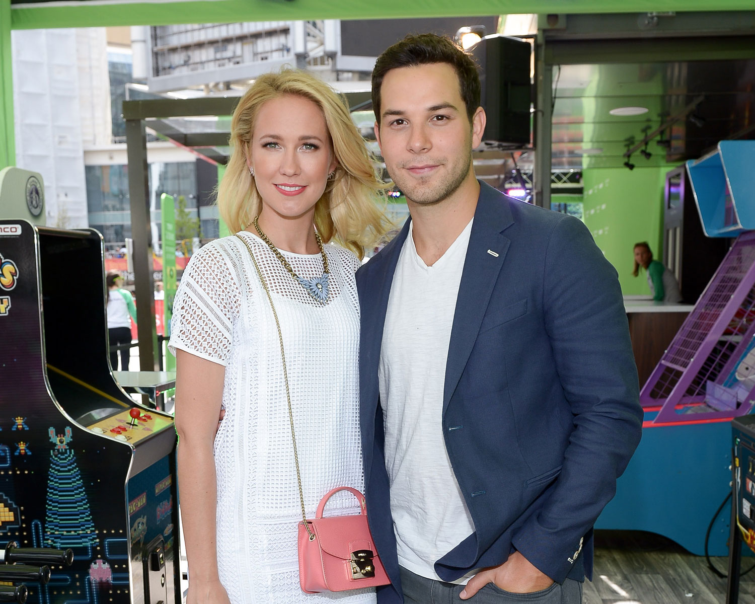 "Actors Anna Camp and Skylar Astin judge ""Pitch Perfect-esque"" competition in Toronto for the NXNE festival at Yonge Dundas Square on June 16, 2016 in Toronto, Canada.  (Photo by George Pimentel/WireImage)"