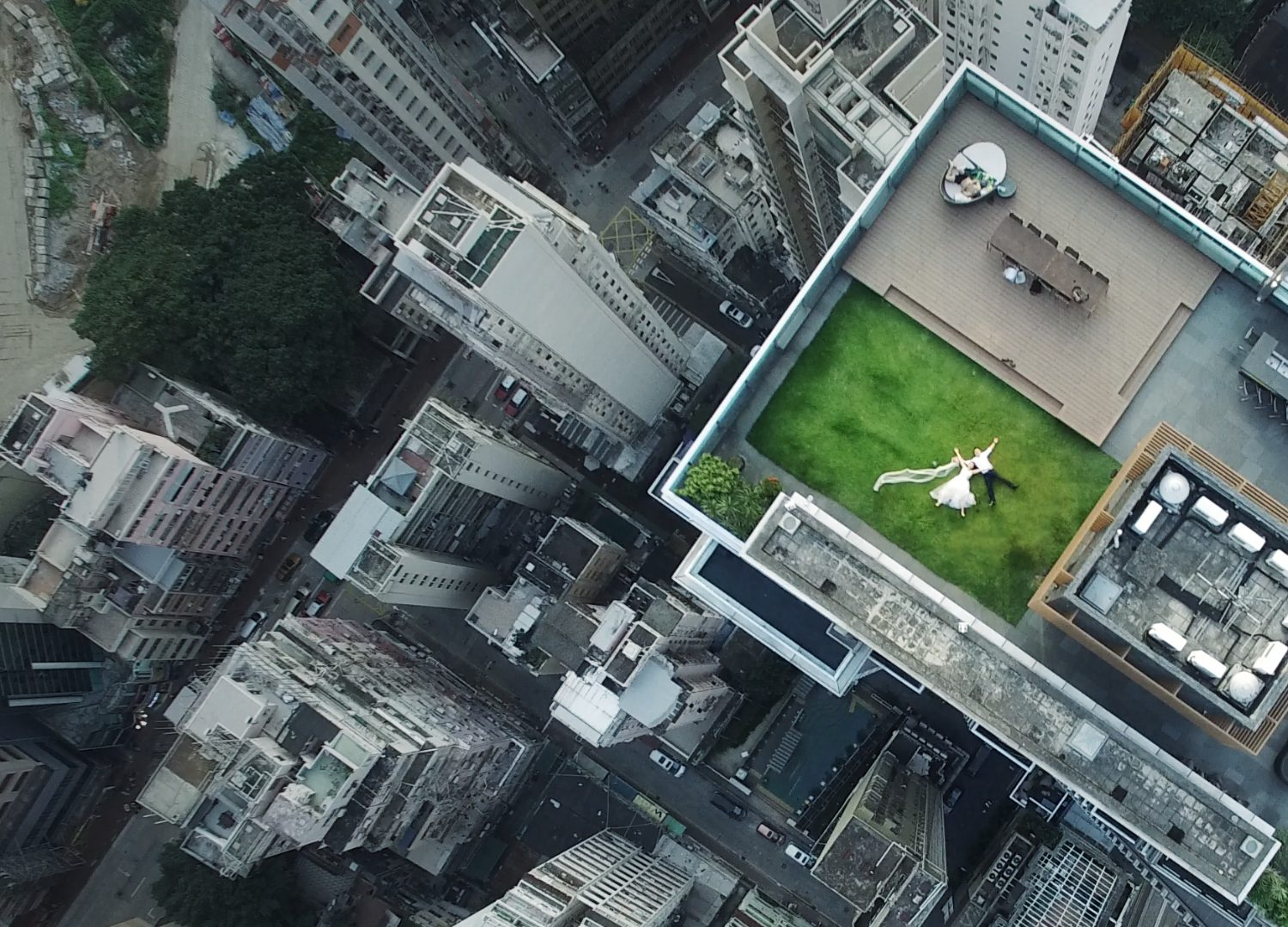 Drone rooftop newlyweds