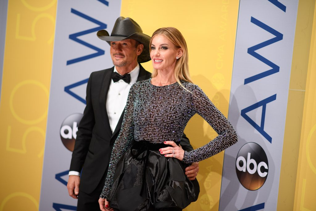 "THE 50th ANNUAL CMA AWARDS - ""The 50th Annual CMA Awards,"" hosted by Brad Paisley and Carrie Underwood, broadcasts live from the Bridgestone Arena in Nashville, Wednesday, November 2 (8:00-11:00 p.m. EDT), on the ABC Television Network. (ABC/Image Group LA) TIM MCGRAW, FAITH HILL"