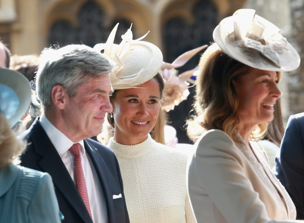 KING'S LYNN, ENGLAND - JULY 05: Michael Middleton, Carole Middleton and Pippa Middleton leave the Church of St Mary Magdalene on the Sandringham Estate for the Christening of Princess Charlotte of Cambridge on July 5, 2015 in King's Lynn, England. (Photo by Chris Jackson/Getty Images)