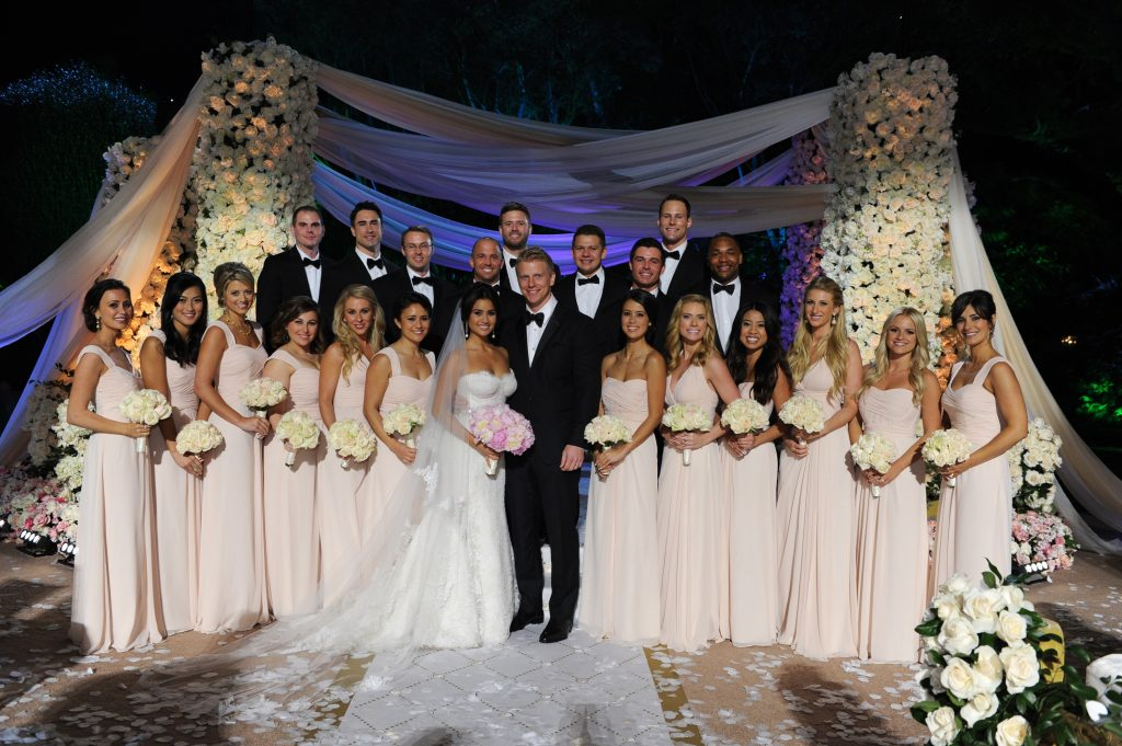 "THE BACHELOR: SEAN AND CATHERINE'S WEDDING - Sean Lowe and Catherine Giudici, the latest to join other ""Bachelor"" couples who have walked down the aisle, shared a dramatic new chapter of their love story with millions of viewers and Bachelor Nation when ABC televised their much anticipated wedding, live, on ""The Bachelor: Sean and Catherine's Wedding,"" SUNDAY, JANUARY 26, 2014 (8:00-10:00 p.m., ET), on the ABC Television Network. (Todd Wawrychuk/ABC via Getty Images) CATHERINE LOWE, SEAN LOWE, WEDDING PARTY"