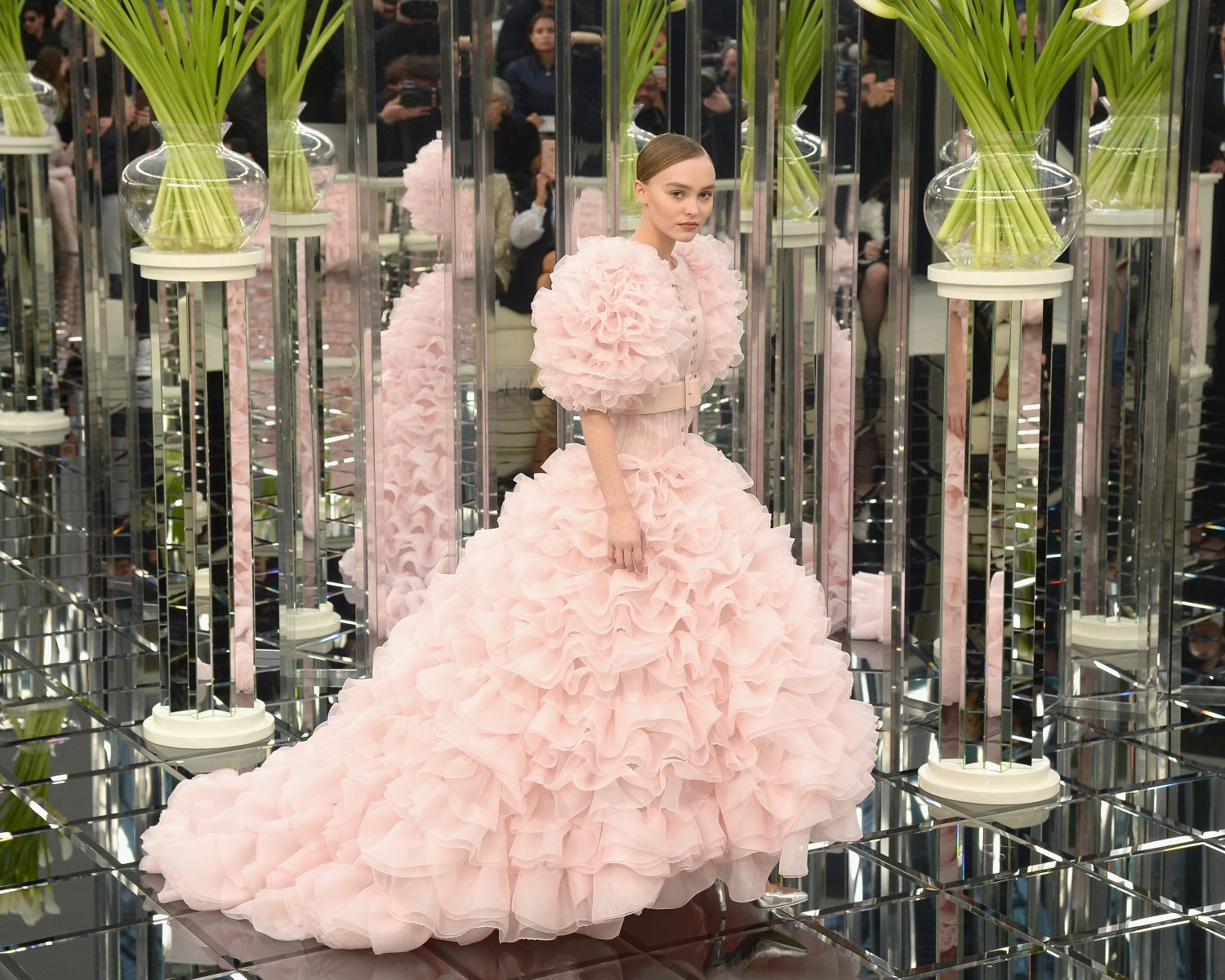 Lily-Rose Depp Was a Blushing Bride in Pink Chanel Couture Wedding Dress