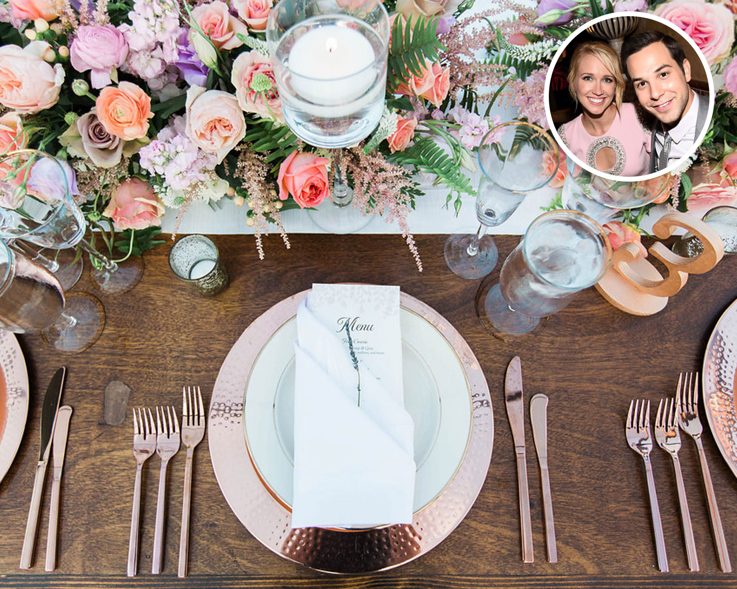 Anna Camp Skylar Astin wedding menu