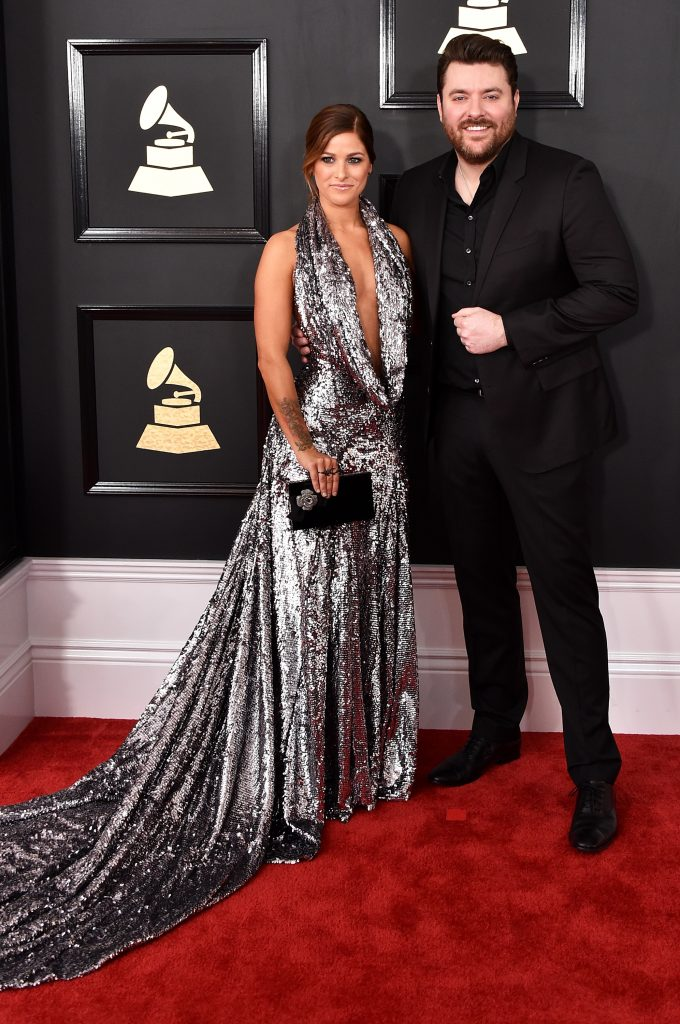 LOS ANGELES, CA - FEBRUARY 12: Recording artists Cassadee Pope (L) and Chris Young attend The 59th GRAMMY Awards at STAPLES Center on February 12, 2017 in Los Angeles, California. (Photo by John Shearer/WireImage)