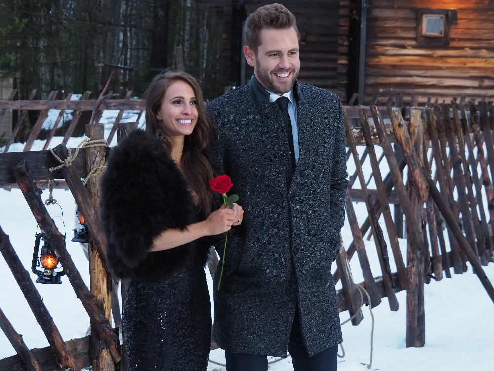 "THE BACHELOR - ""Episode 2110"" - The compelling live three-hour television event will begin with America watching along with the studio audience, as Nick Viall's journey to find love comes to its astonishing conclusion. Find out if Nick gets his happy ending on the season finale of ""The Bachelor,"" MONDAY, MARCH 13 (8:00-10:01 p.m. EST), on The ABC Television Network. (ABC/Terhi Tuovinen) VANESSA, NICK VIALL"