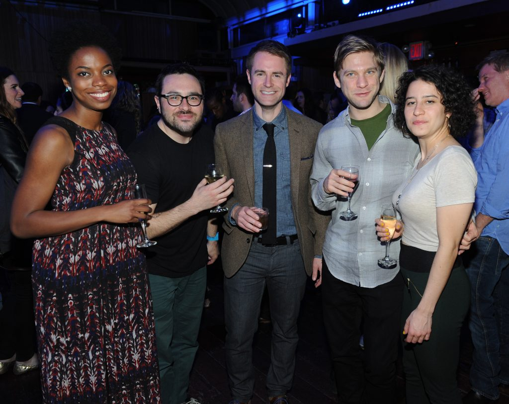 "NEW YORK, NY - APRIL 24: (L-R) Sasheer Zamata, Eliot Glazer, Michael Torpey, David Rooklin, and Ilana Glazer attend ""Inside Amy Schumer"" Premiere Screening Party at Hudson Terrace on April 24, 2013 in New York City.  (Photo by Brad Barket/Getty Images for Comedy Central)"