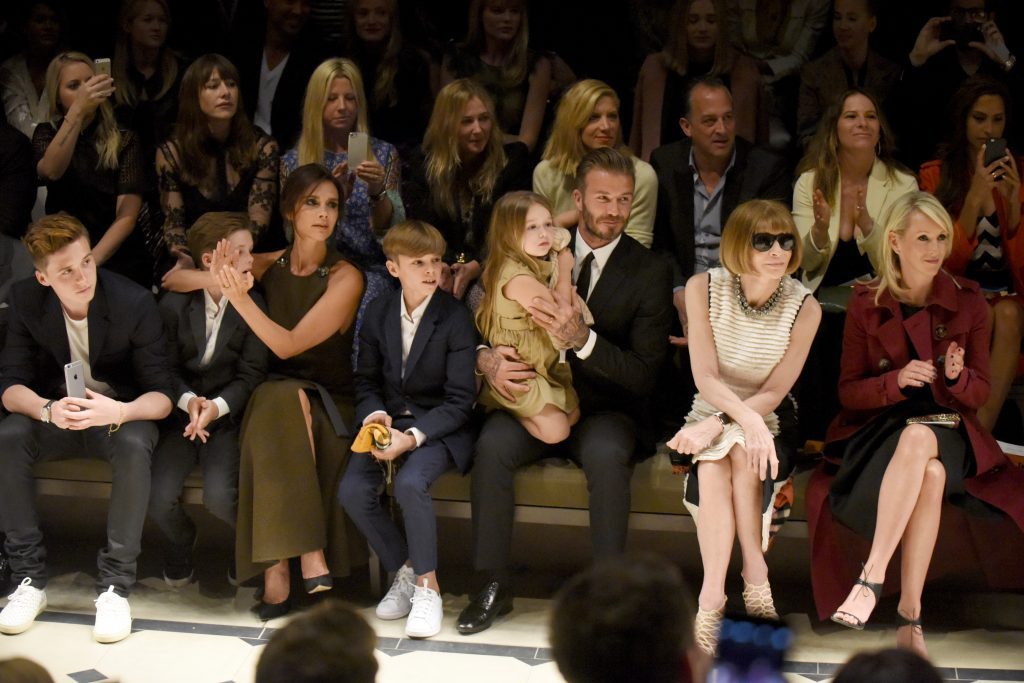 "LOS ANGELES, CA - APRIL 16: (L-R) Brooklyn Beckham, Cruz Beckham, Victoria Beckham, Romeo Beckham, Harper Beckham, David Beckham, editor-in-chief of American Vogue Anna Wintour and Julia Gorden attend the Burberry ""London in Los Angeles"" event at Griffith Observatory on April 16, 2015 in Los Angeles, California. (Photo by Jeff Vespa/Getty Images for Burberry)"