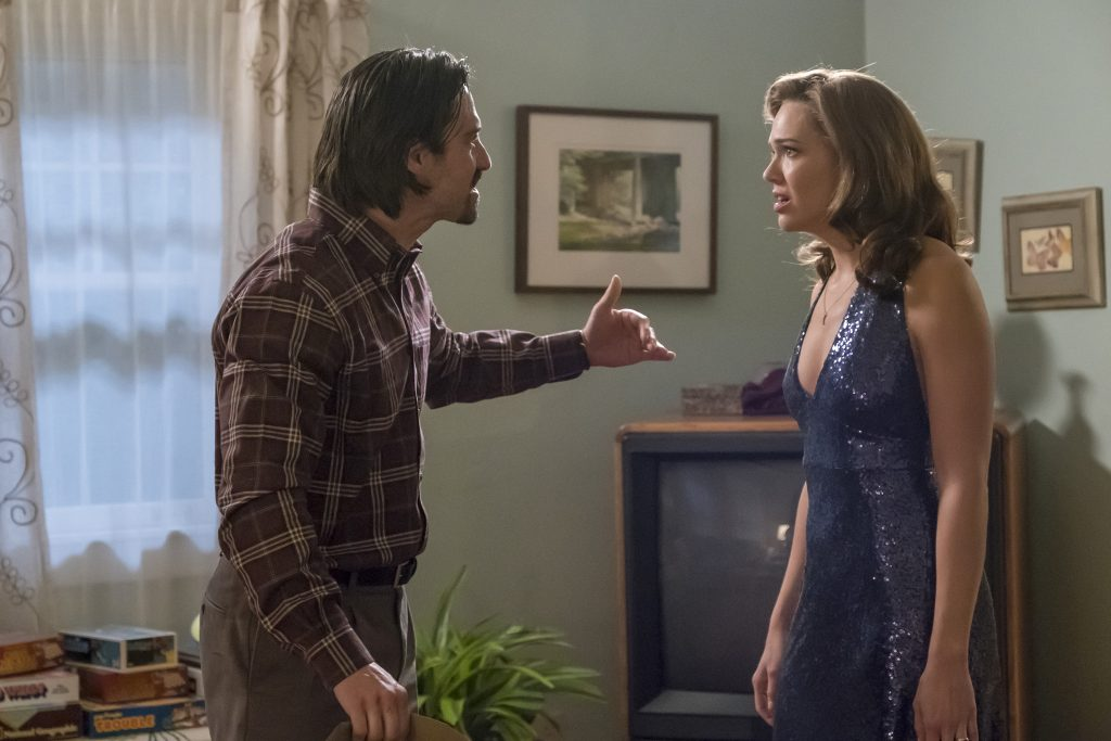 "THIS IS US -- ""Moonshadow"" Episode118 -- Pictured: (l-r) Milo Ventimiglia as Jack, Mandy Moore as Rebecca -- (Photo by: Ron Batzdorff/NBC)"