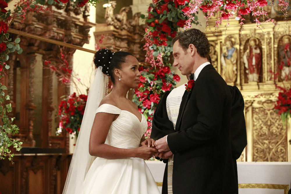 "SCANDAL - ""The Decision"" - With the ugly truth behind Frankie's assassination revealed, a torn Olivia wonders how different her life - and the country - would be if she, Mellie and Cyrus had never rigged Fitz's election, on ""Scandal,"" airing THURSDAY, APRIL 13 (9:01-10:00 p.m. EDT), on The ABC Television Network. (ABC/Mitch Haaseth) KERRY WASHINGTON, TONY GOLDWYN"