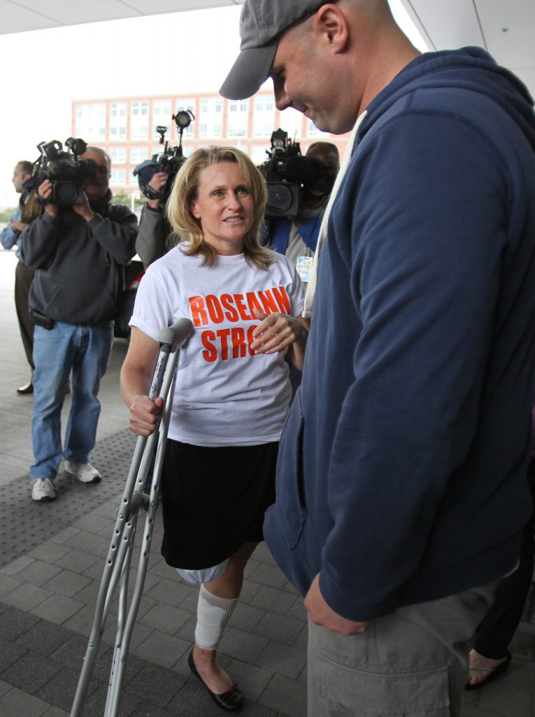 Boston Marathon Bombing Survivor Roseann Sdoia firefighter fireman Mike Materia