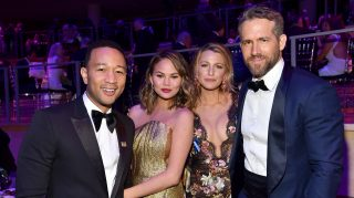 John Legend, Chrissy Teigen, Blake Lively and Ryan Reynolds attend the 2017 TIME 100 Gala at Jazz at Lincoln Center on April 25, 2017 in New York City.  (Photo by Patrick McMullan/Patrick McMullan via Getty Images)
