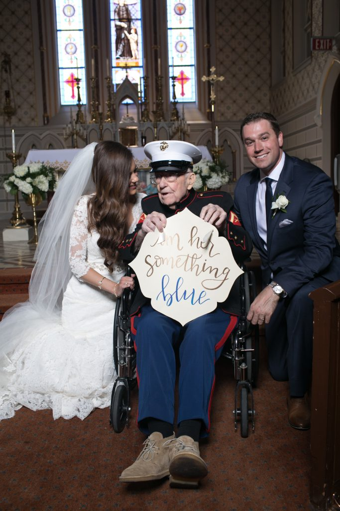"A Missouri bride asked her 92-year-old war veteran uncle to serve as her ""something blue."" (Photo credit: Claire Bira / Imageclairity.com)"