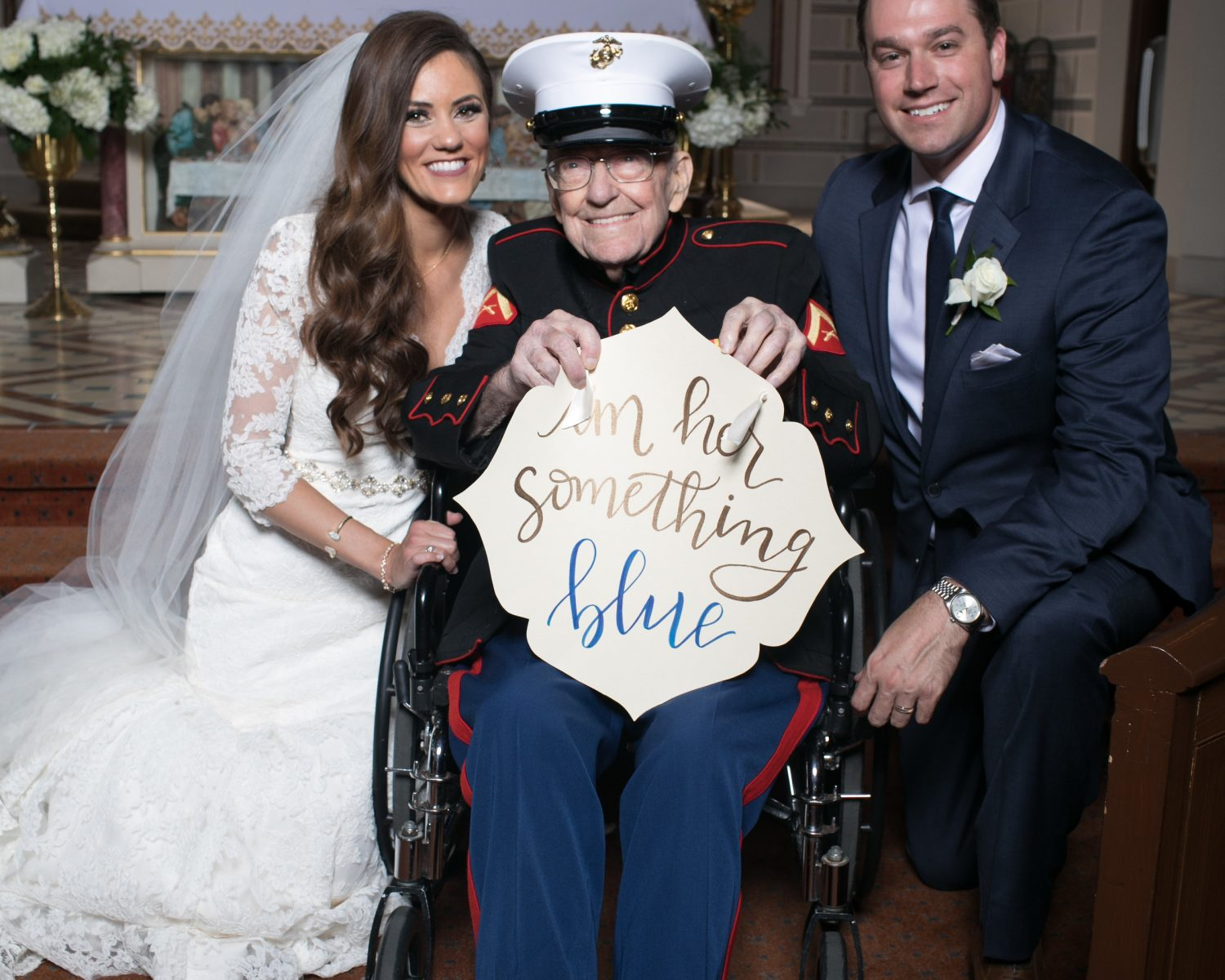 """A Missouri Bride Asked Her 92yearold War Veteran Uncle To Serve As €�something Blue"""" Photo Credit Claire Bira Imageclairity: Marine Dress Blues Wedding At Reisefeber.org"""