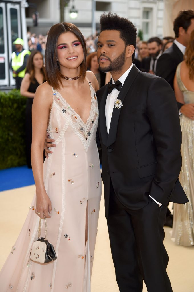 """NEW YORK, NY - MAY 01: Selena Gomez and the Weeknd attend the """"Rei Kawakubo/Comme des Garcons: Art Of The In-Between"""" Costume Institute Gala at Metropolitan Museum of Art on May 1, 2017 in New York City. (Photo by Dimitrios Kambouris/Getty Images)"""