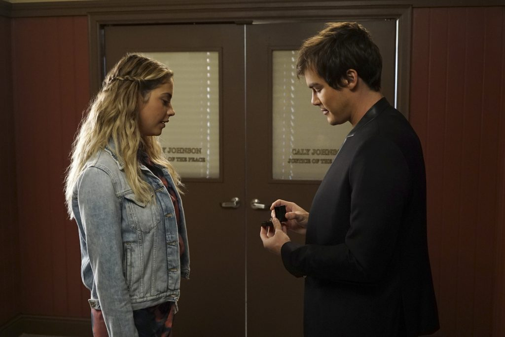 """PRETTY LITTLE LIARS - """"Choose or Lose"""" - With the Rosewood police closer than ever, A.D. tries to split the Liars apart in an all-new episode of Freeform's hit original series """"Pretty Little Liars,"""" airing TUESDAY, JUNE 13 (8:00 - 9:01 p.m. EDT). (Freeform/Eric McCandless) ASHLEY BENSON, TYLER BLACKBURN"""