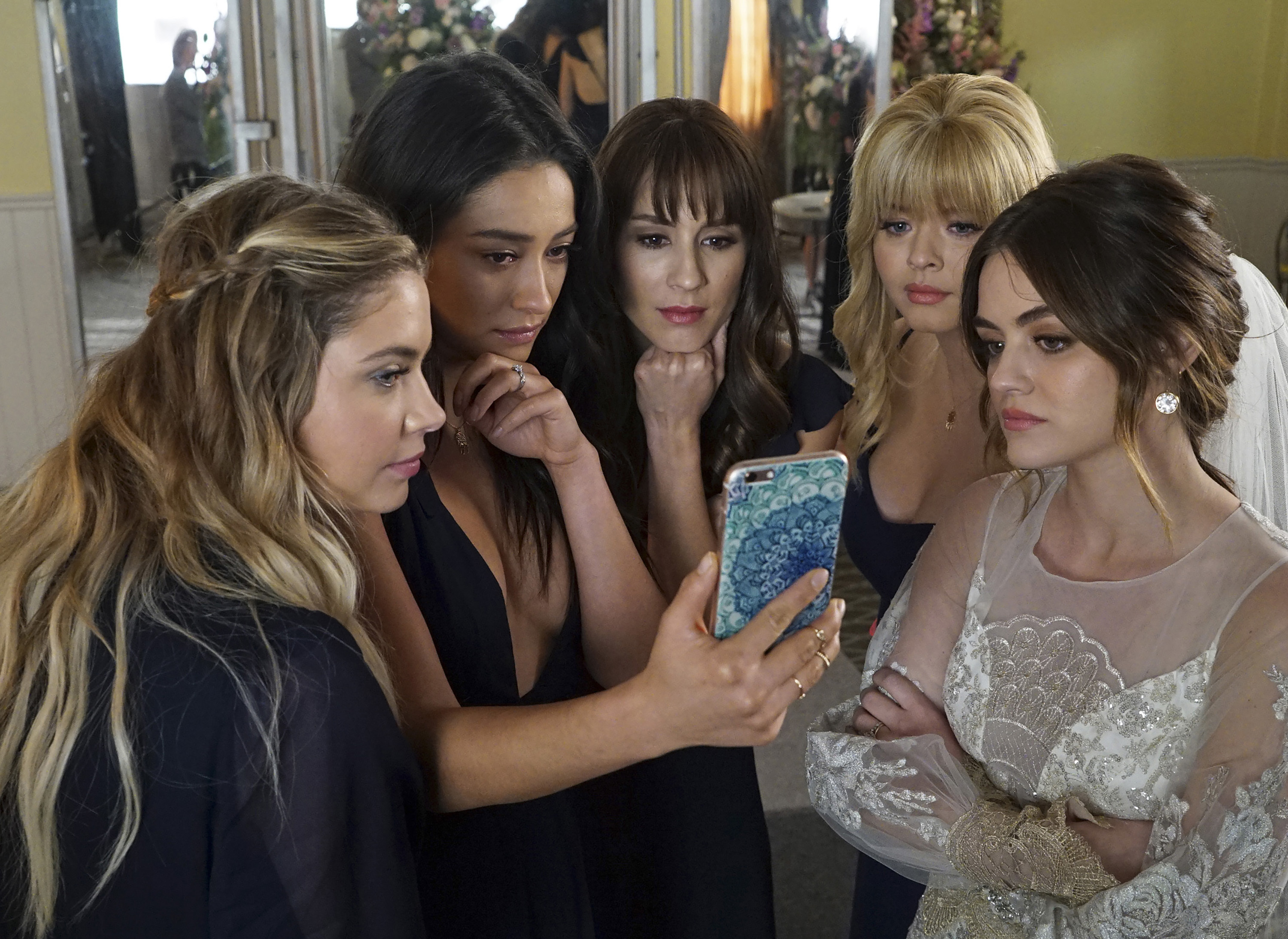 Aria's wedding dress on 'Pretty Little Liars' was a design by Claire Pettibone. (Freeform/Eric McCandless)