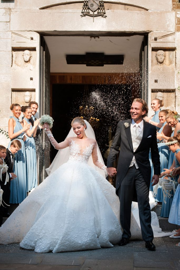 Victoria Swarovski and Werner Muerz exit the church after their wedding on June 16, 2017 in Trieste, Italy. (Photo by Chris Singer/Johannes Kernmayer/CUEX GmbH/Getty Images)