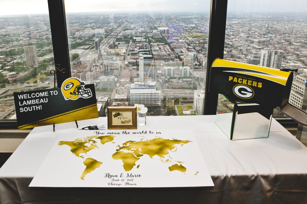 Ryan Holtan-Murphy and Marie Packer's Green Bay Packers-themed wedding. Chicago, June 2017. (Credit: Jacob Poehls / JPP Studios)