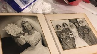 wedding album falls from ceiling
