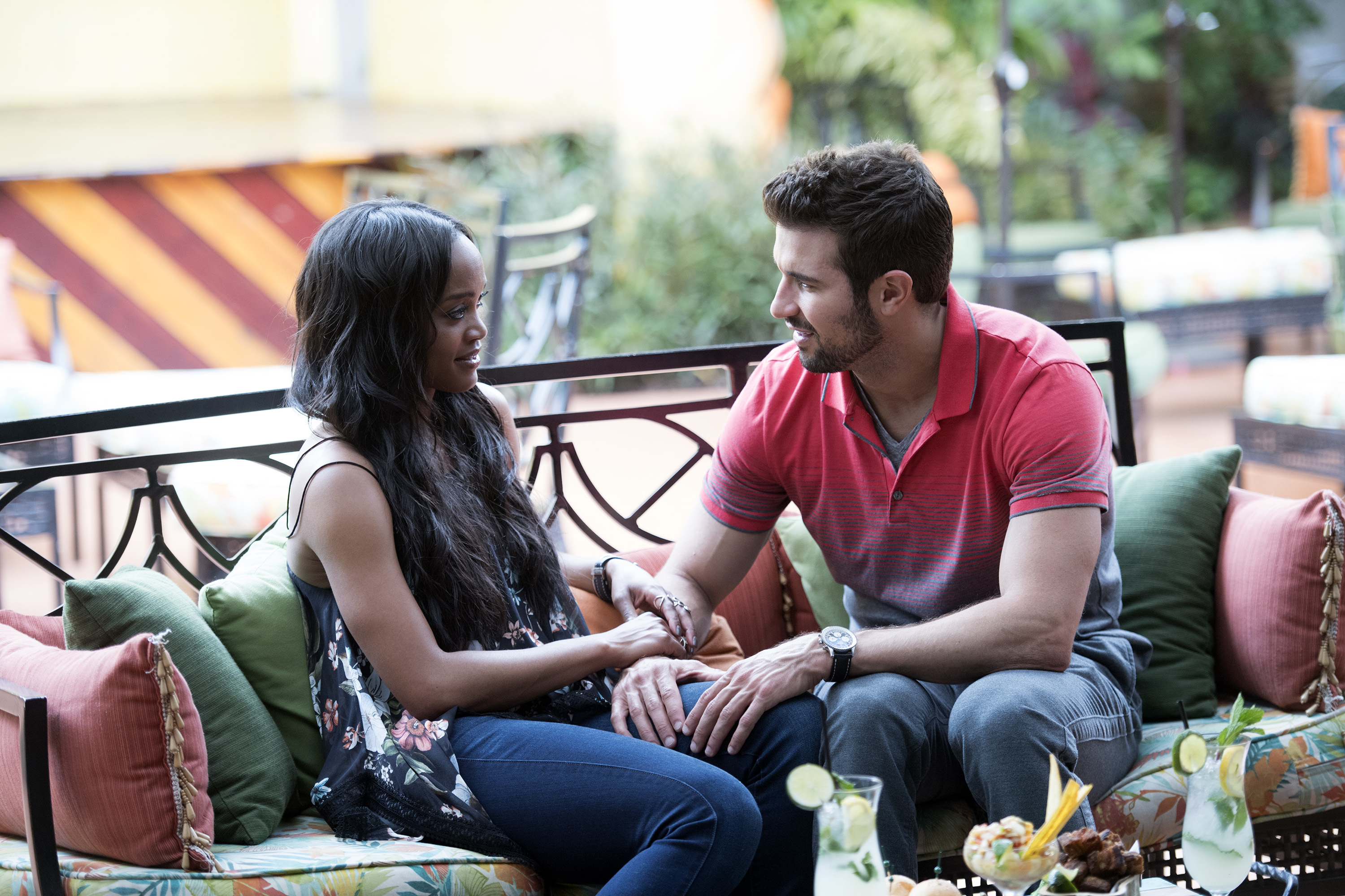 "THE BACHELORETTE - ""Episode 1308"" - Rachel has traveled to romantic locations around the globe in her search to find her soul mate. Now, after adventures in Copenhagen, Oslo and Geneva, she returns to the United States to more uncharted territories: the four hometowns of Eric, Bryan, Peter and Dean. Her spirit and resilience is about to be tested by the men and their loved ones, as she tries to figure out how and why she is falling in love with more than one man at a time. Are all these bachelors marriage material? Rachel will try to find out from the people who know them best, as she moves closer to making her fairytale come true, on ""The Bachelorette,"" MONDAY, JULY 17 (8:00-10:01 p.m. EDT), on The ABC Television Network. (ABC/Rodrigo Varela) RACHEL LINDSAY, BRYAN"