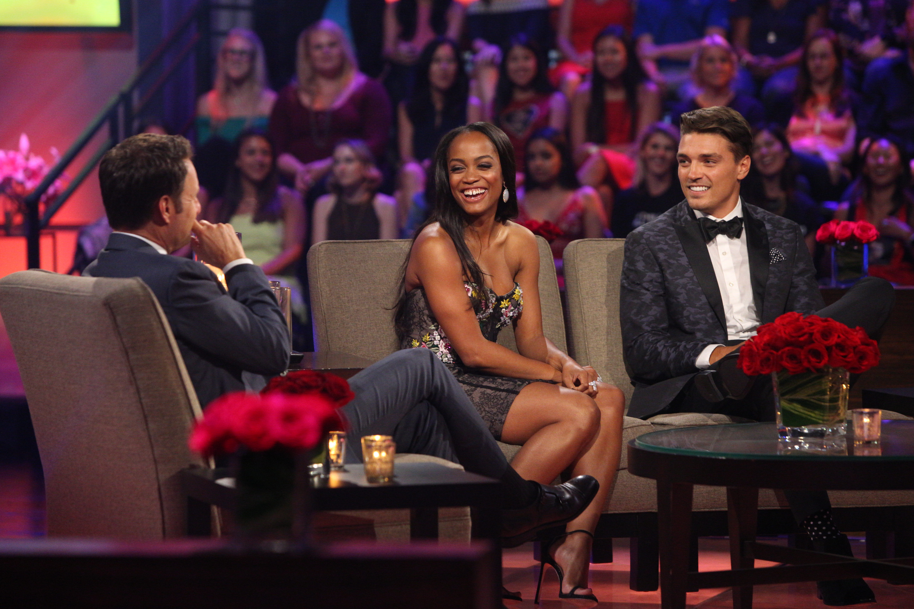 Rachel Lindsay and Lee Garrett join Chris Harrison onstage at The Bachelorette: Men Tell All (ABC/Paul Hebert)