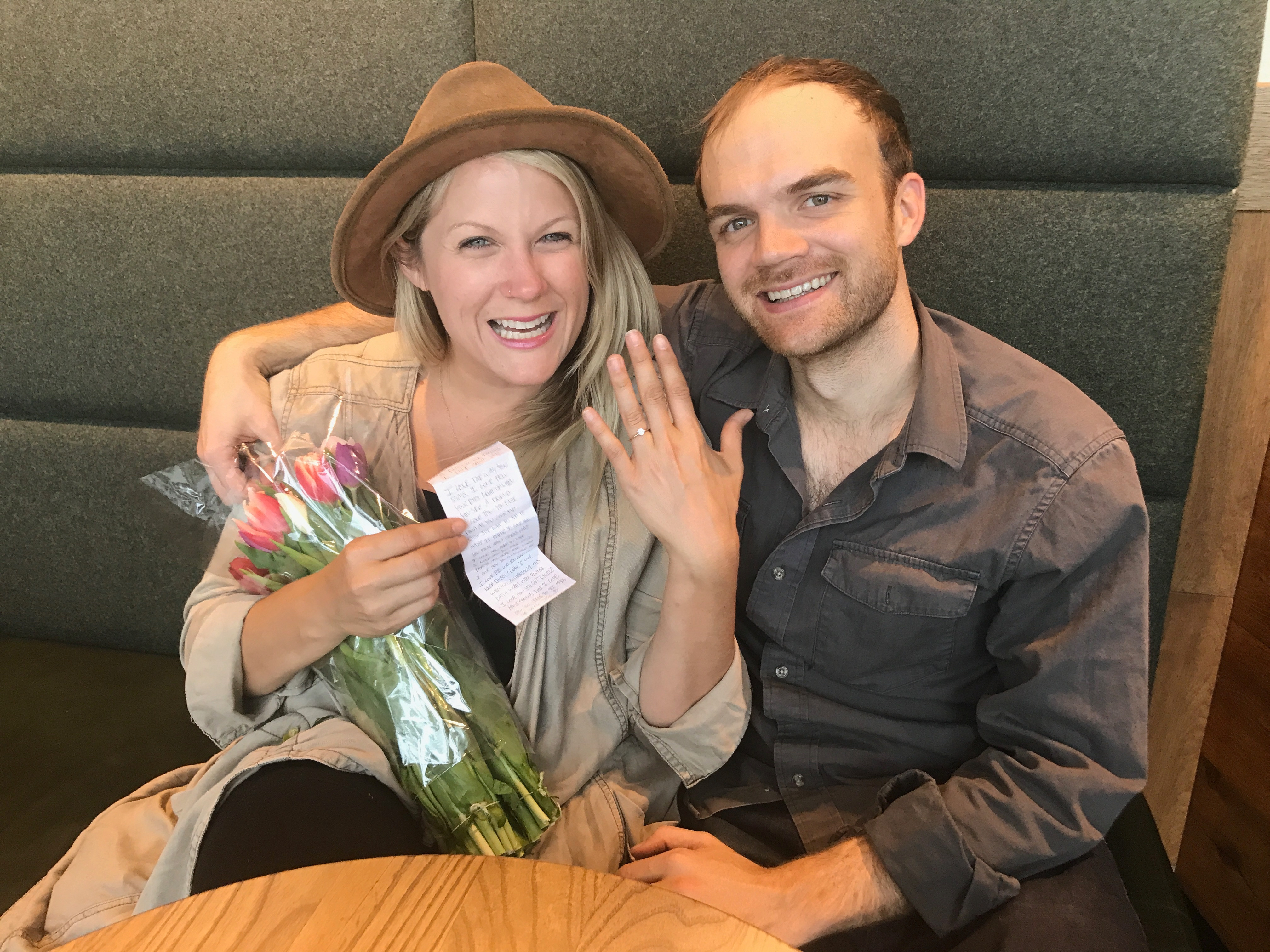 This couple got engaged in the Amsterdam airport Starbucks. (Credit: Anna Havens, courtesy of Starbucks)