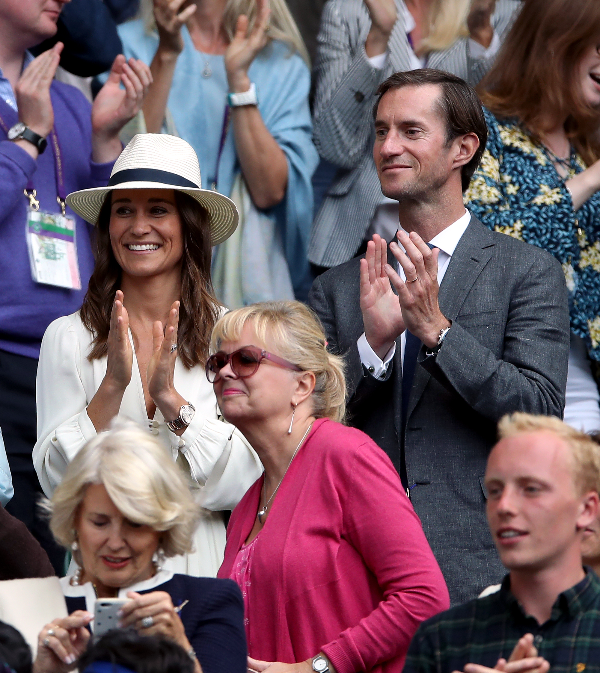 Pippa Middleton and her husband James Matthews applaud Roger Federer after his win on day eleven of the Wimbledon Championships at The All England Lawn Tennis and Croquet Club, Wimbledon. (Photo by John Walton/PA Images via Getty Images)