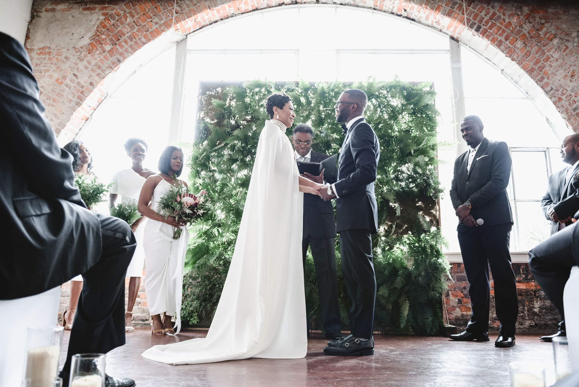 This bride was inspired by Solange's wedding aesthetic and recreated it for her own day. (Credit: Aaron Ricketts Photography)
