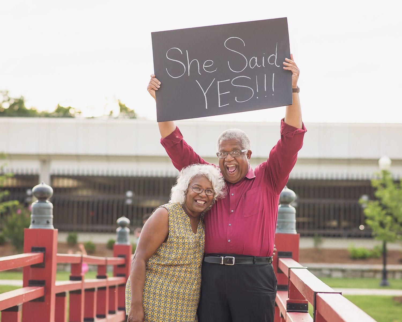 She Said Yes Older Couple Engagement Shoot