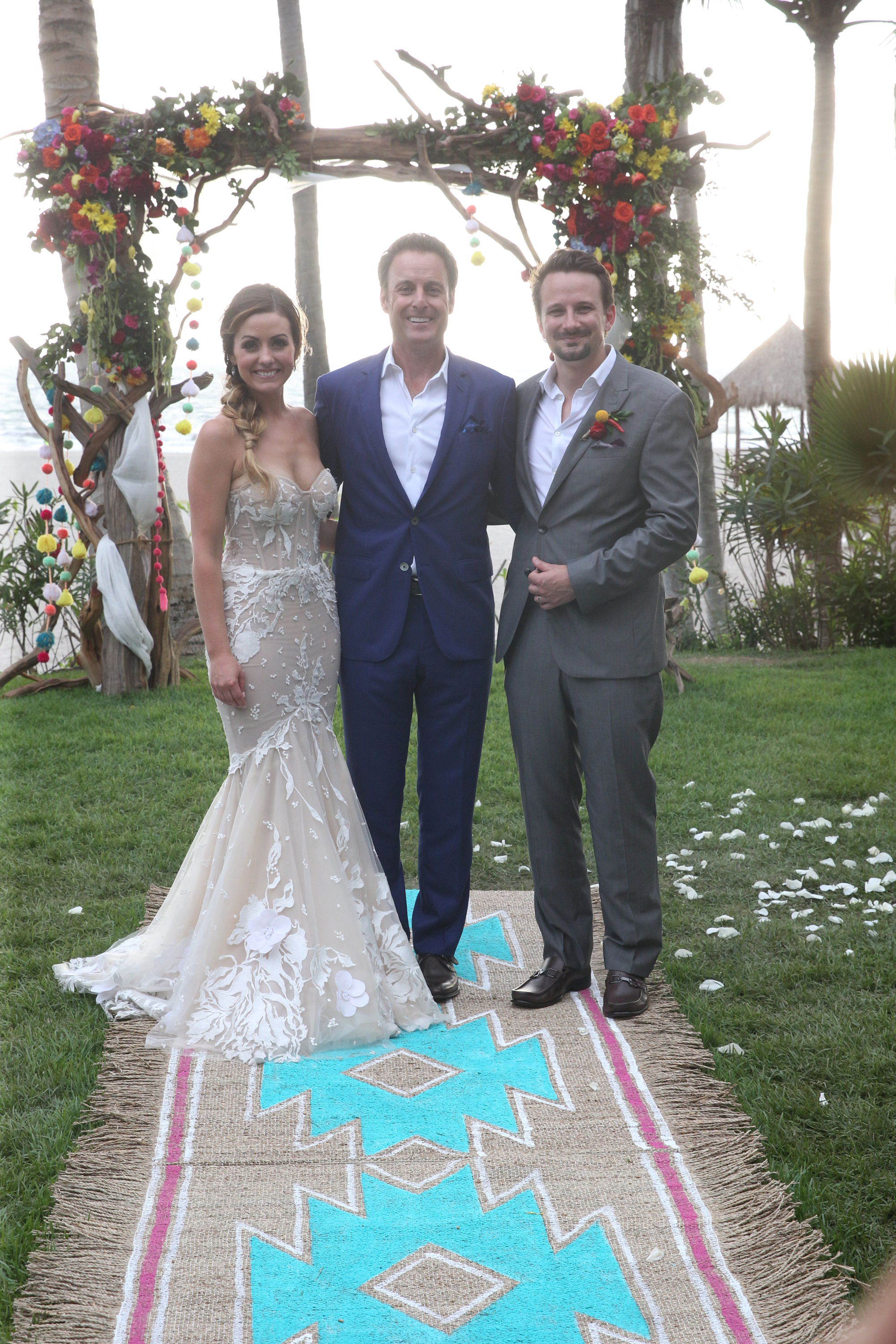 """BACHELOR IN PARADISE - """"Episode 401b"""" - In the next episode that airs TUESDAY, AUGUST 15 (8:00-10:01 p.m. EDT), Carly and Evan exchange marriage vows in Paradise before an assemblage of their family and friends, including many of our Bachelor favorites. (ABC/Paul Hebert) CARLY WADDELL, CHRIS HARRISON, EVAN BASS"""