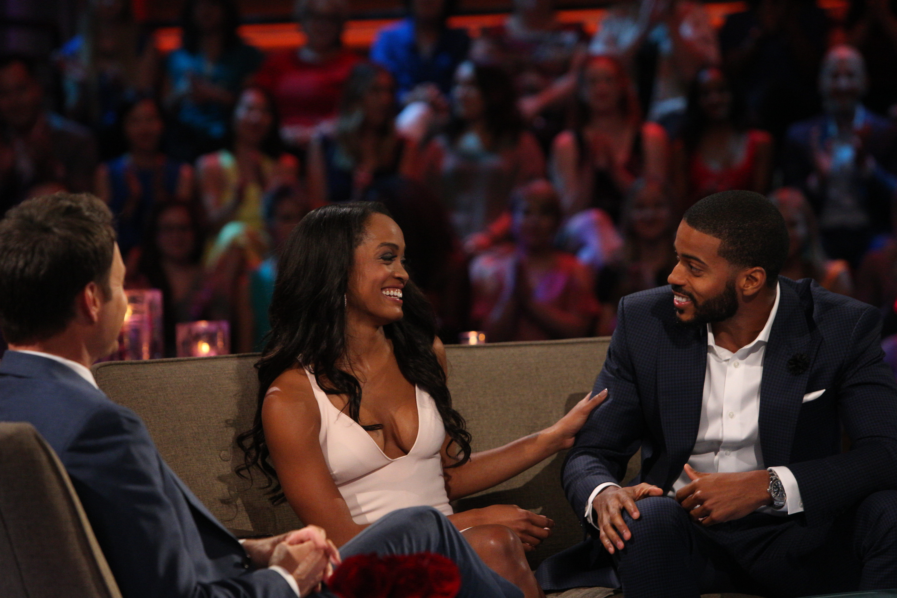 THE BACHELORETTE - ÒEpisode 1310Ó - Season Finale - It didnÕt take long for Rachel Lindsay to rebound from her surprising, gut-wrenching rejection by Nick Viall and capture the hearts of America, as well as this seasonÕs 31 eligible bachelors. Now after surviving shocking twists and turns and a journey filled with laughter, tears, love and controversy, Rachel has narrowed down the field to Bryan, Eric and Peter. She finds herself falling in love with all three of these captivating men and terribly torn between them. She can envision a future with all of these bachelors, but time is running out. In a live, three-hour special, Chris Harrison takes Rachel and Bachelor Nation back to those final days in Rioja, Spain, to discuss the difficult choices she made along the way. Her three suitors will join them throughout the live special, on ÒThe Bachelorette: The Three Hour Live Finale,Ó airing MONDAY, AUGUST 7 (8:00-11:00 p.m. EDT), on The ABC Television Network. (ABC/Paul Hebert) CHRIS HARRISON, RACHEL LINDSAY, ERIC BIGGER
