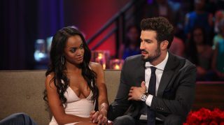 THE BACHELORETTE - ÒEpisode 1310Ó - Season Finale - It didnÕt take long for Rachel Lindsay to rebound from her surprising, gut-wrenching rejection by Nick Viall and capture the hearts of America, as well as this seasonÕs 31 eligible bachelors. Now after surviving shocking twists and turns and a journey filled with laughter, tears, love and controversy, Rachel has narrowed down the field to Bryan, Eric and Peter. She finds herself falling in love with all three of these captivating men and terribly torn between them. She can envision a future with all of these bachelors, but time is running out. In a live, three-hour special, Chris Harrison takes Rachel and Bachelor Nation back to those final days in Rioja, Spain, to discuss the difficult choices she made along the way.  Her three suitors will join them throughout the live special, on ÒThe Bachelorette: The Three Hour Live Finale,Ó airing MONDAY, AUGUST 7 (8:00-11:00 p.m. EDT), on The ABC Television Network. (ABC/Paul Hebert) RACHEL LINDSAY, BRYAN ABASOLO