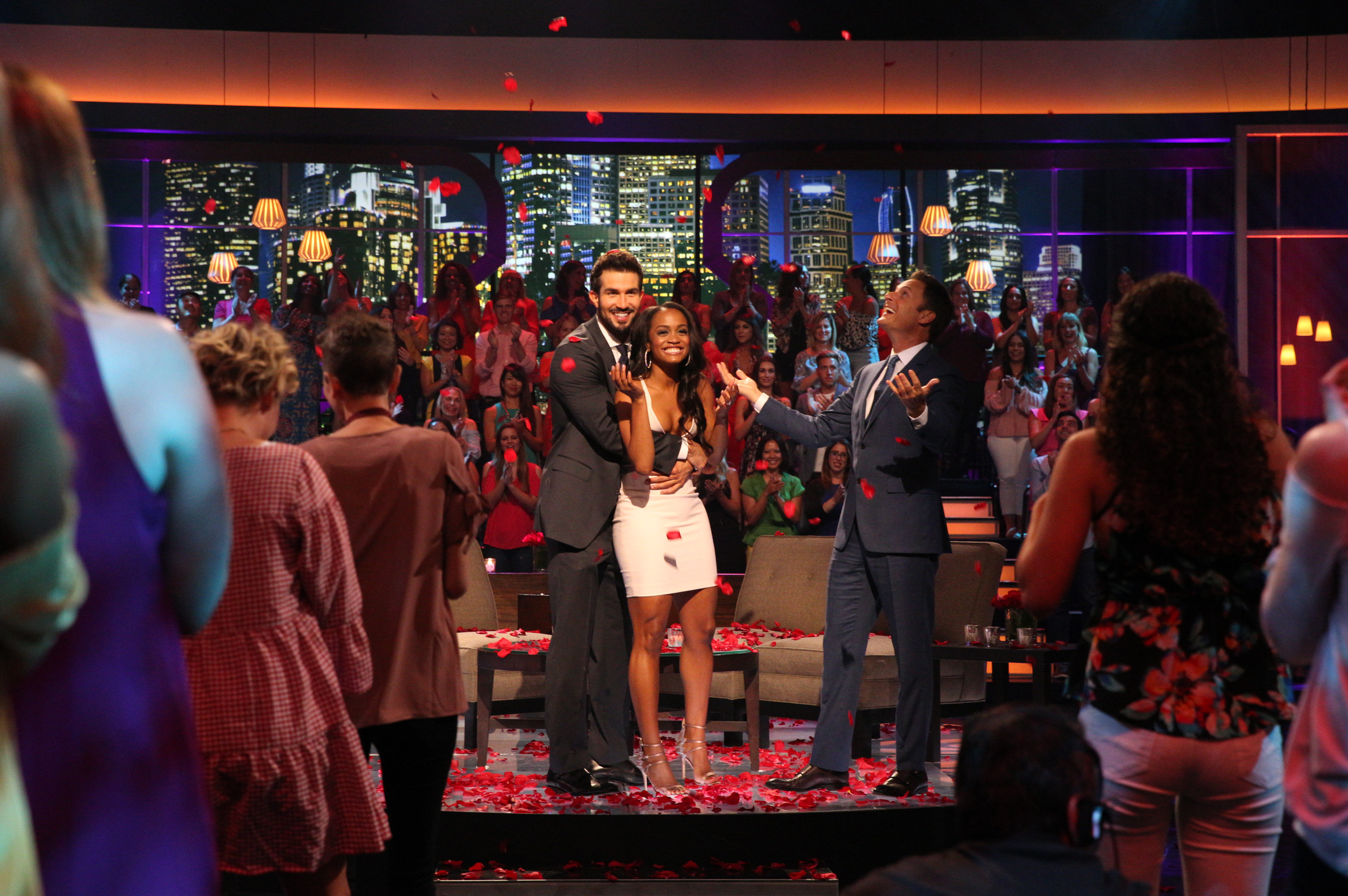 THE BACHELORETTE - ÒEpisode 1310Ó - Season Finale - It didnÕt take long for Rachel Lindsay to rebound from her surprising, gut-wrenching rejection by Nick Viall and capture the hearts of America, as well as this seasonÕs 31 eligible bachelors. Now after surviving shocking twists and turns and a journey filled with laughter, tears, love and controversy, Rachel has narrowed down the field to Bryan, Eric and Peter. She finds herself falling in love with all three of these captivating men and terribly torn between them. She can envision a future with all of these bachelors, but time is running out. In a live, three-hour special, Chris Harrison takes Rachel and Bachelor Nation back to those final days in Rioja, Spain, to discuss the difficult choices she made along the way. Her three suitors will join them throughout the live special, on ÒThe Bachelorette: The Three Hour Live Finale,Ó airing MONDAY, AUGUST 7 (8:00-11:00 p.m. EDT), on The ABC Television Network. (ABC/Paul Hebert) BRYAN ABASOLO, RACHEL LINDSAY, CHRIS HARRISON