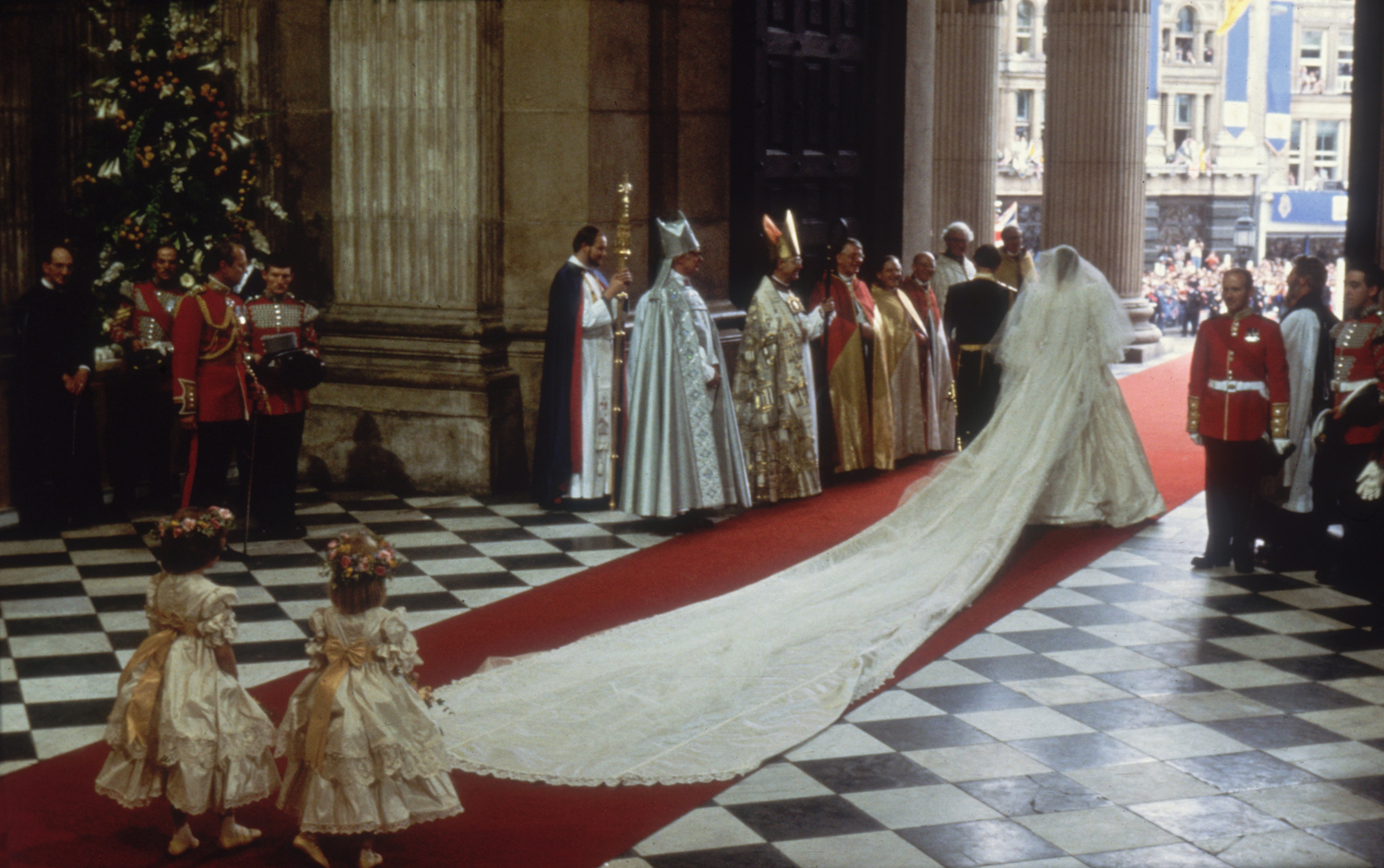 29th July 1981: Charles, Prince of Wales, with his wife, Princess Diana (1961 - 1997), at St Paul's Cathedral, London, during their marriage ceremony. (Photo by Hulton Archive/Getty Images)