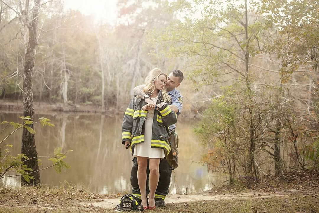 Firefighter wedding dress harvey hurricane