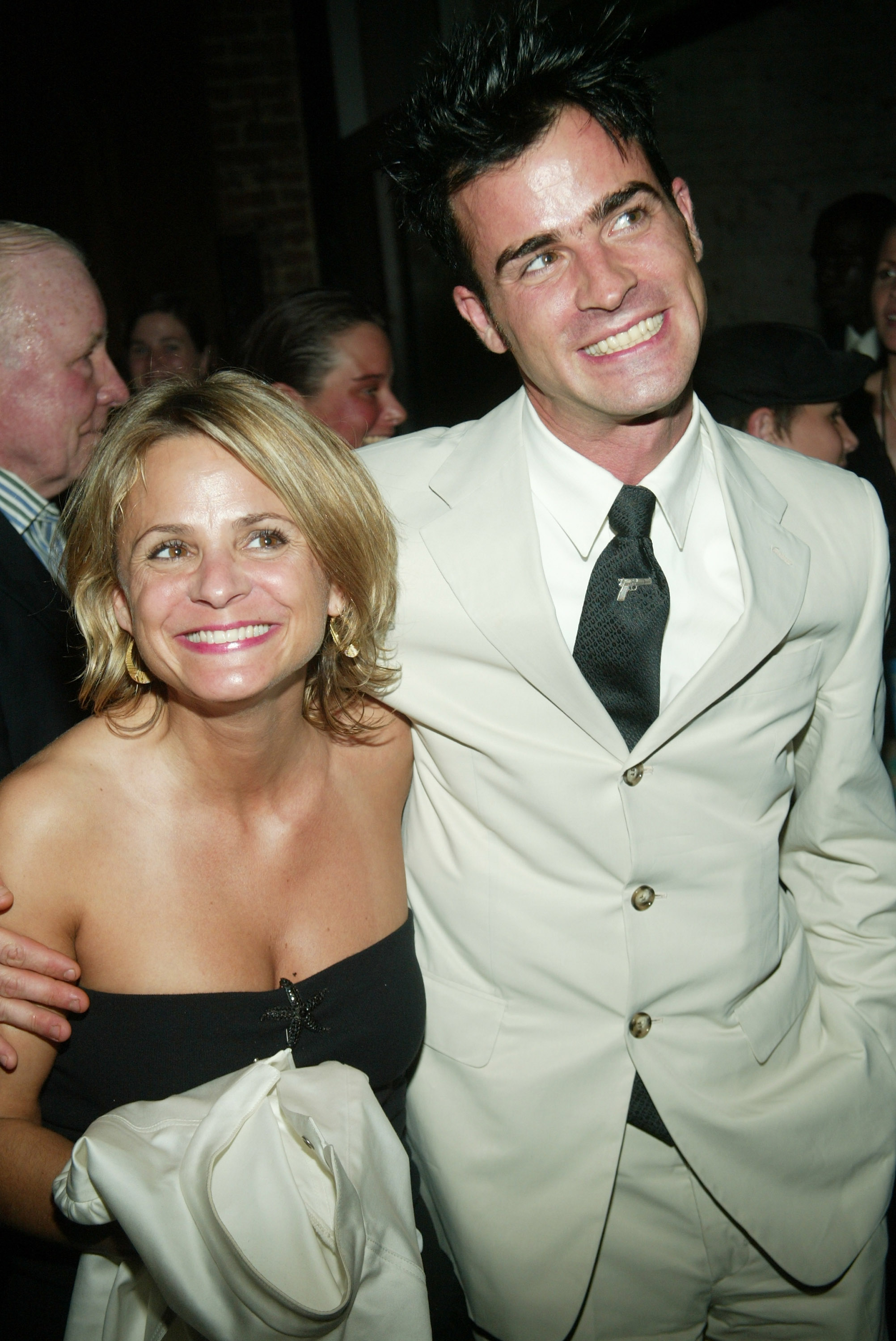 "NEW YORK - JUNE 25: (U.S. TABS AND HOLLYWOOD REPORTER OUT) Actors Amy Sedaris and Justin Theroux arrive at the after-party for the special screening of ""Charlie's Angels: Full Throttle"" at Eyebeam Atelier June 25, 2003 in New York City. (Photo by Evan Agostini/Getty Images)"