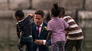 groom saves drowning boy