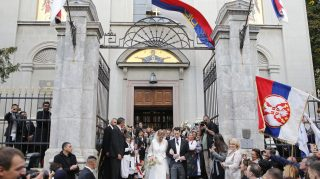 BELGRADE, SERBIA - OCTOBER 07: Prince Philip of Serbia and Danica Marinkovic during their church wedding at The Cathedral Church of St. Michael the Archangel on October 7, 2017 in Belgrade, Serbia. (Photo by Milica Radicevic/WireImage)