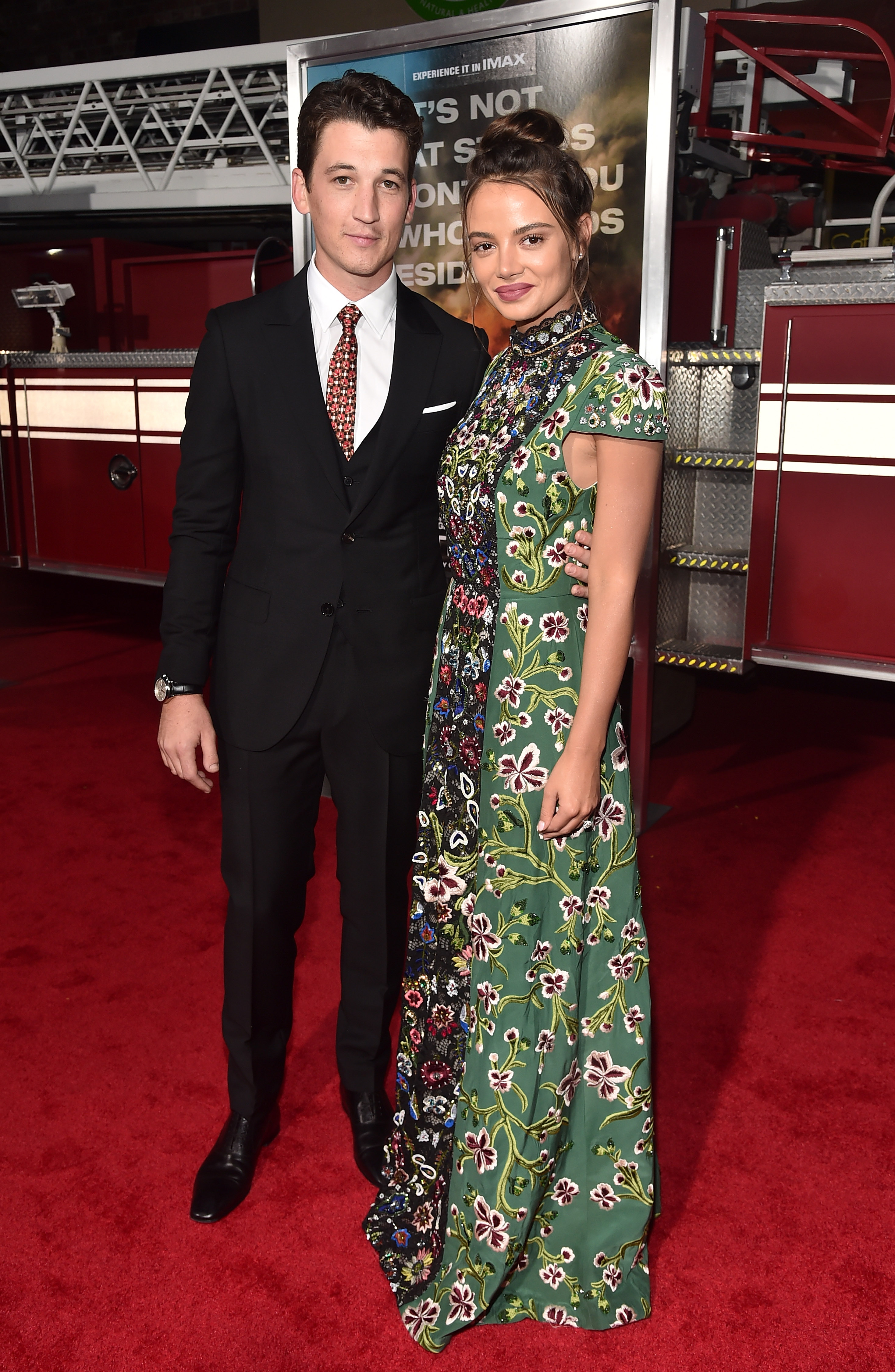 "WESTWOOD, CA - OCTOBER 08:  Actors Miles Teller and Keleigh Sperry attend the premiere of Columbia Pictures' ""Only The Brave"" at the Regency Village Theatre on October 8, 2017 in Westwood, California.  (Photo by Alberto E. Rodriguez/Getty Images)"