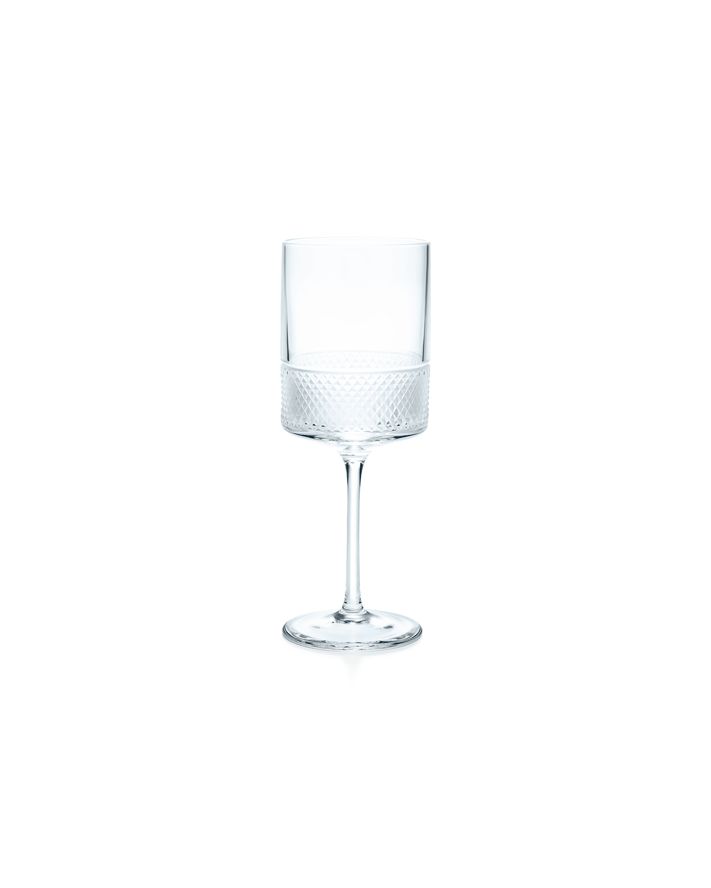 Tiffany & Co. Diamond Point wine glass in crystal glass, $65.00. (Photo Credit: Tiffany & Co.)
