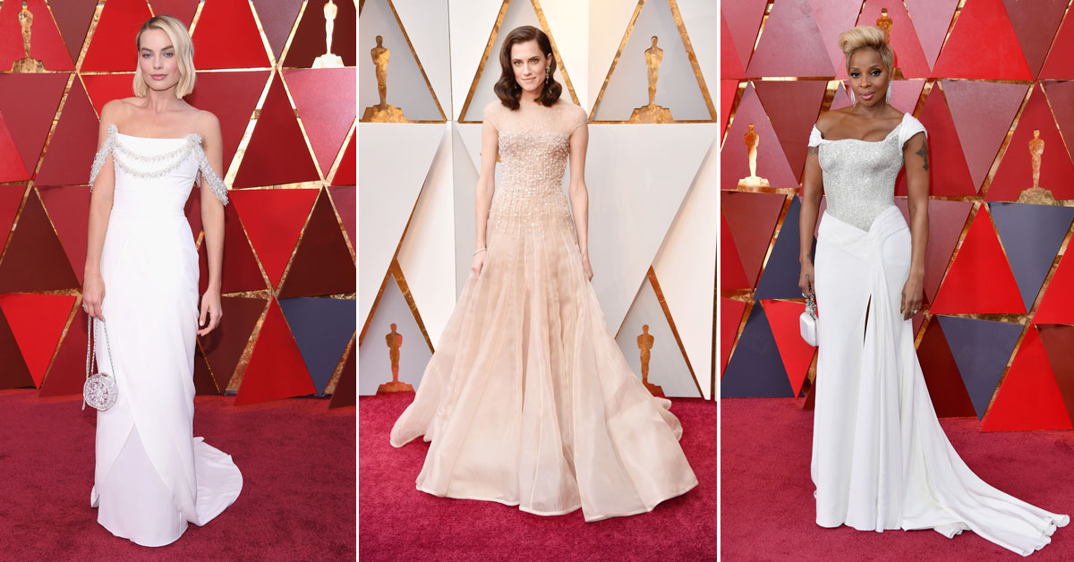 Oscars 2018 red carpet 15 bridal inspired wedding dresses on celebs margot robbie allison williams and mary j blige all wore white to the 90th annual academy awards at hollywood highland center on march 4 junglespirit Images