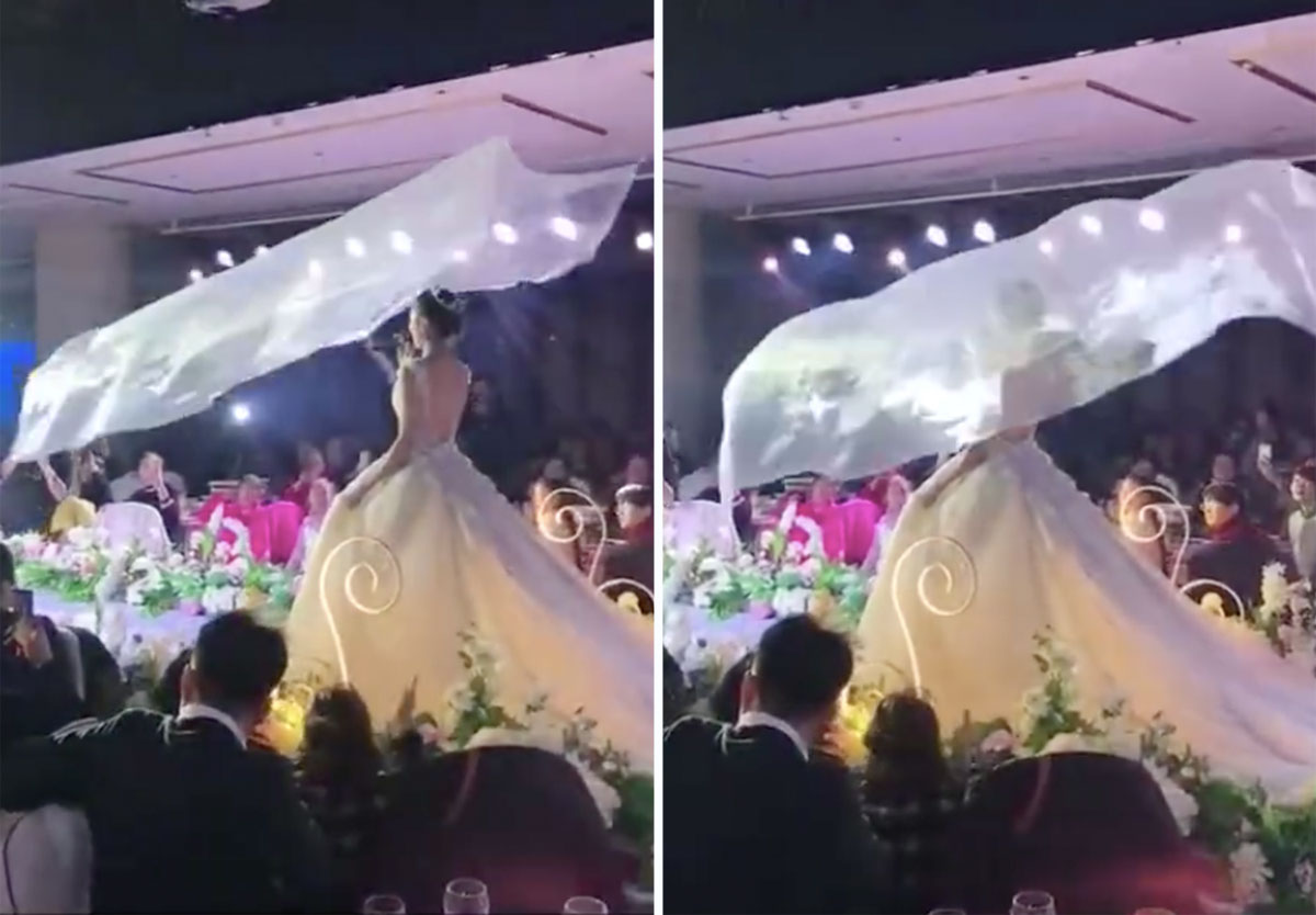 Flying Veils Are The Latest Wedding Trend In China